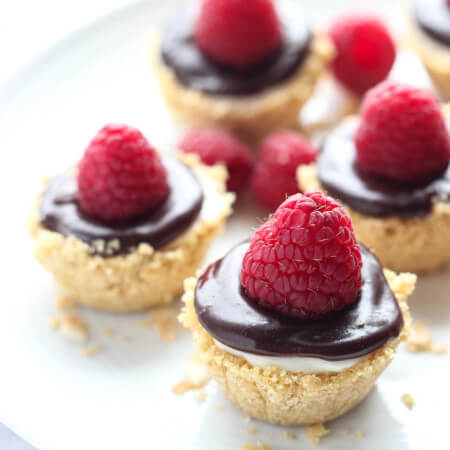 No Bake Meyer Lemon Mini Cheesecakes with Chocolate Ganache