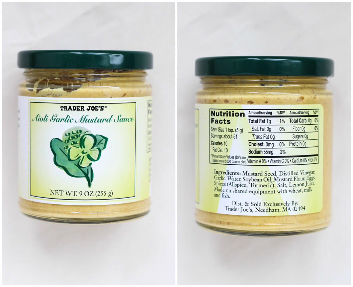 List of BEST products to buy at Trader Joe's - Aioli Garlic Mustard Sauce | littlebroken.com @littlebroken