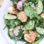Spring Quinoa Shrimp Salad with Honey Lemon Vinaigrette