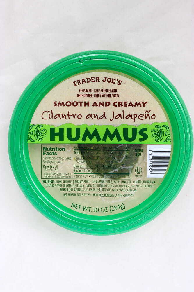 List of BEST products to buy at Trader Joe's - Cilantro and Jalapeno Hummus | littlebroken.com @littlebroken