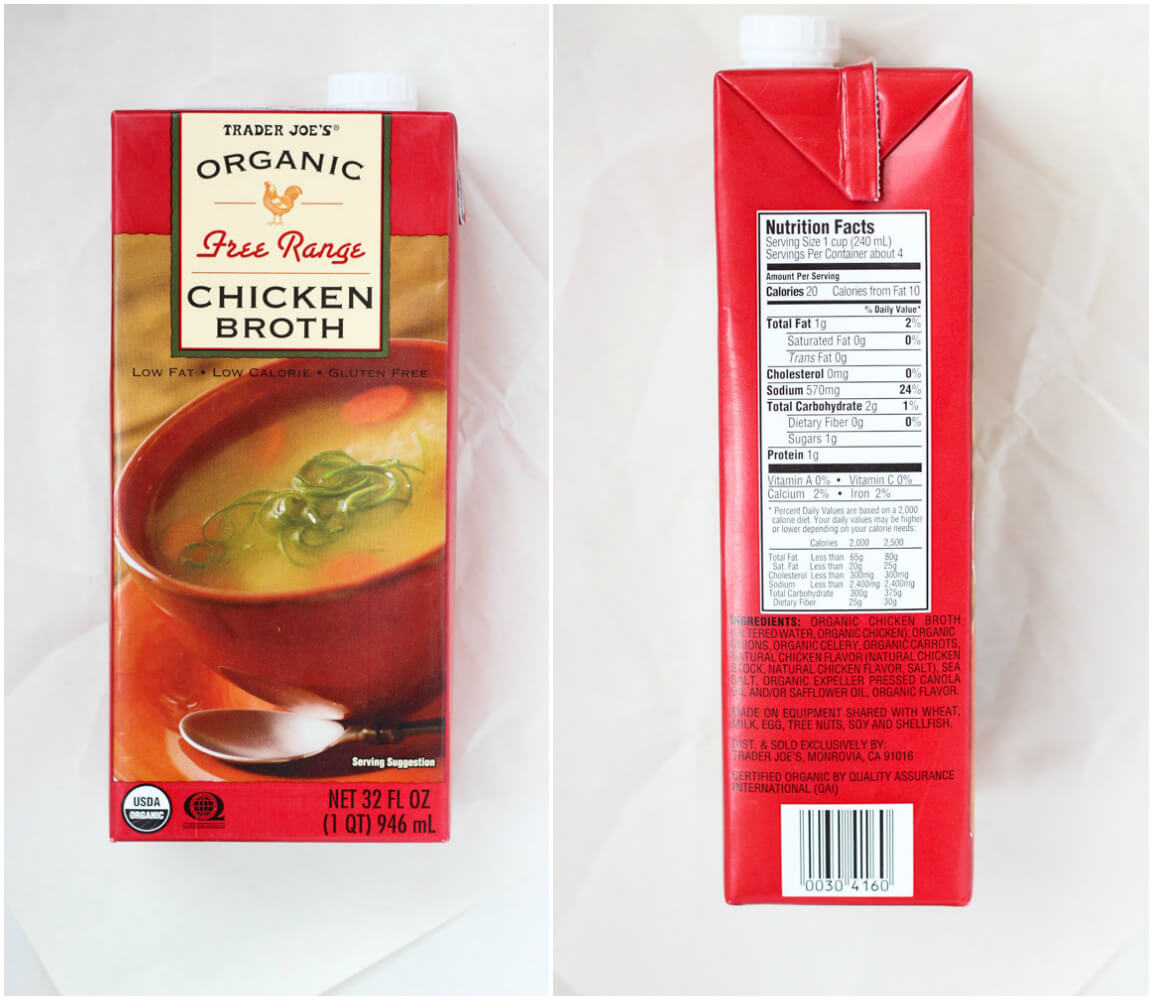 BEST products to buy at Trader Joe's - Organic Free Range Chicken Broth | littlebroken.com @littlebroken