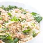 Light broth with bok choy, bean sprouts, and chicken, over ramen noodles makes a light satisfying bowl of soup | littlebroken.com @littlebroken