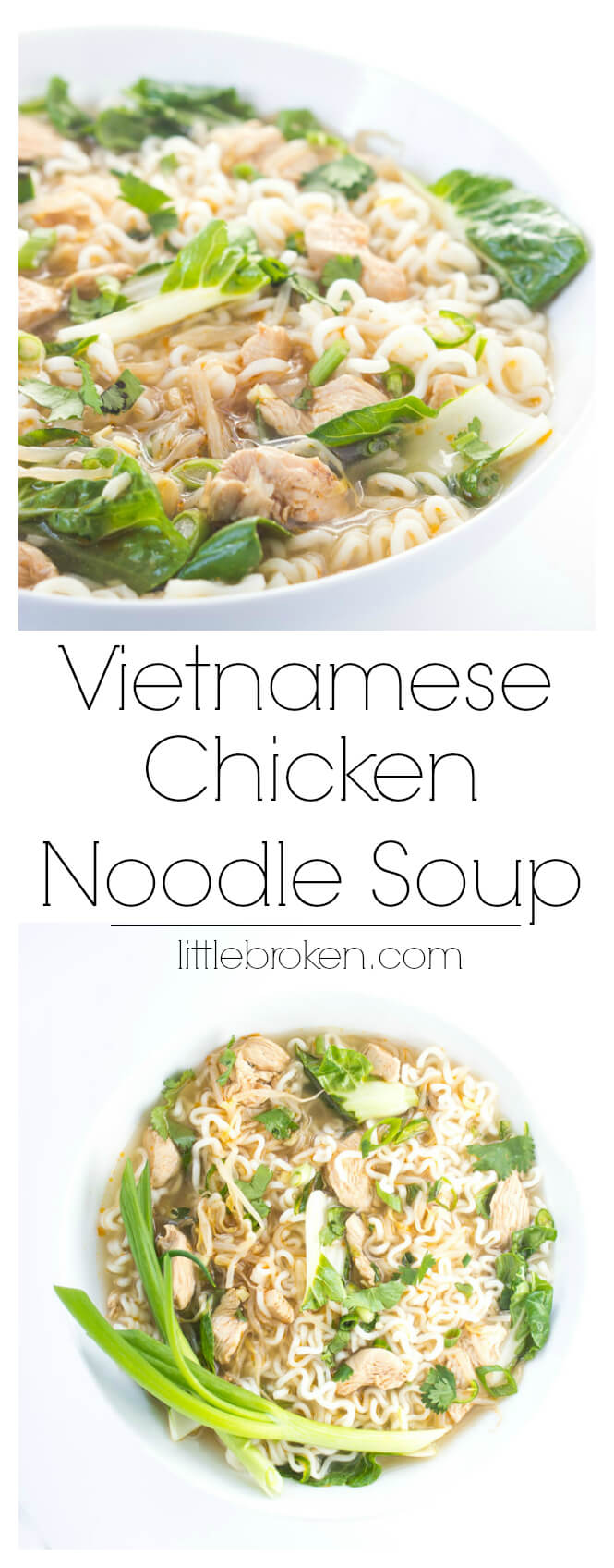 Light broth with bok choy, bean sprouts, and chicken. Served over ramen noodles for a light and satisfying lunch or dinner | littlebroken.com @littlebroken
