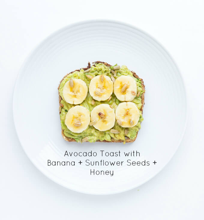 Easy and quick banana + sunflower seeds  + honey avocado toast. Click on picture to see more ways to top an avocado toast, all with fresh ingredients   littlebroken.com @littlebroken