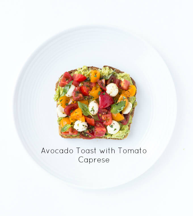 Easy and quick caprese avocado toast. Click on picture to check out more ways to top an avocado toast, all with fresh ingredients   littlebroken.com @littlebroken