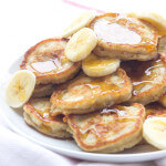 Quick and easy way to use leftover buttermilk and over ripe bananas by making these light and fluffy breakfast pancakes (oladi) | littlebroken.com @littlebroken