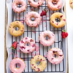 Strawberry Buttermilk Baked Donuts with Strawberry Glaze