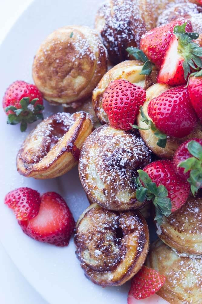 Mini pancakes (ebelskiver) filled with strawberry preserves make the BEST brunch food   littlebroken.com @littlebroken.com