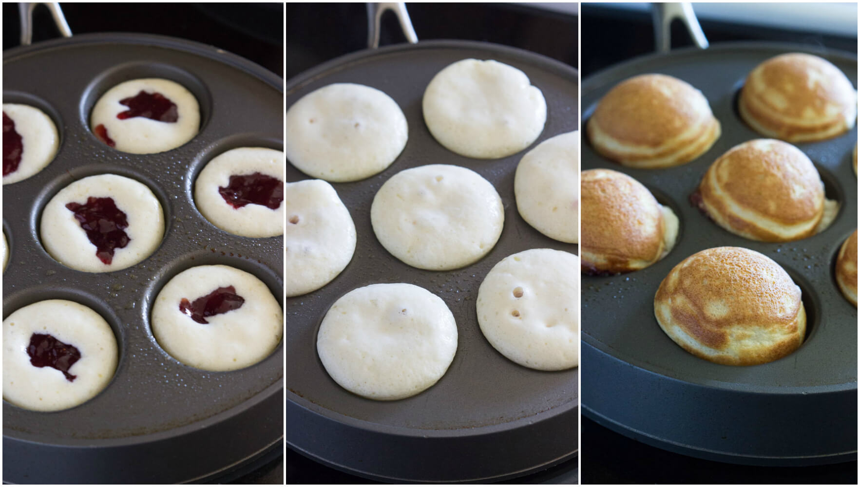 Mini pancakes (ebelskiver) filled with strawberry preserves make the ...