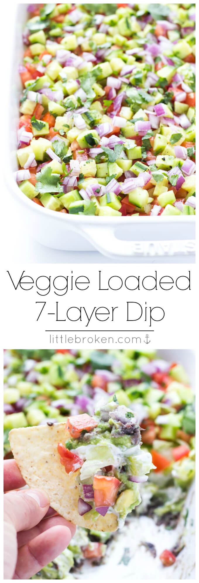 Healthy 7-layer appetizer without any processed canned stuff. Just simple, real food.   littlebroken.com @littlebroken