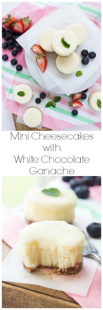 Basic cheesecake with graham cracker crust, topped with white chocolate ganache. Super easy, silky, creamy dessert that EVERYONE will love! | littlebroken.com @littlebroken