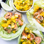 Spicy Coconut Shrimp Lettuce Wraps with Mango Basil Salsa