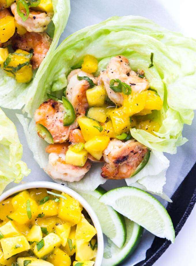 Spicy Coconut Shrimp Lettuce Wraps with Mango Basil Salsa | Little ...
