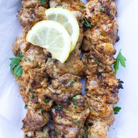 Skinny Yogurt Marinated Chicken Kebabs
