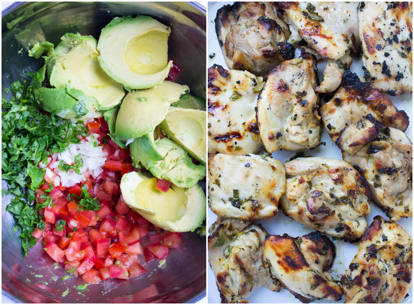 Super juicy chicken thighs grilled and topped with tomato guacamole for easy weeknight dinner | littlebroken.com @littlebroken.com