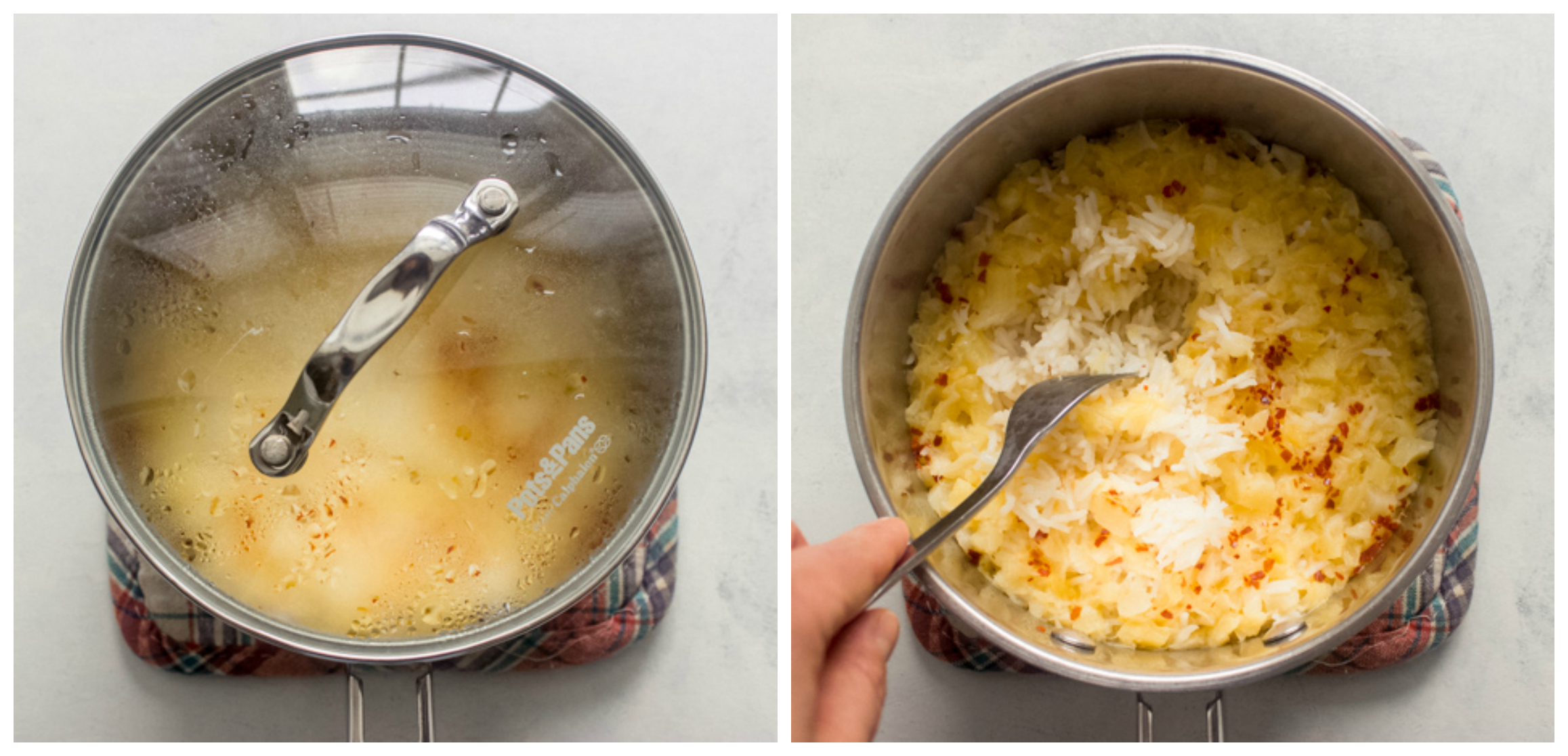 cooked tropical rice in saucepan