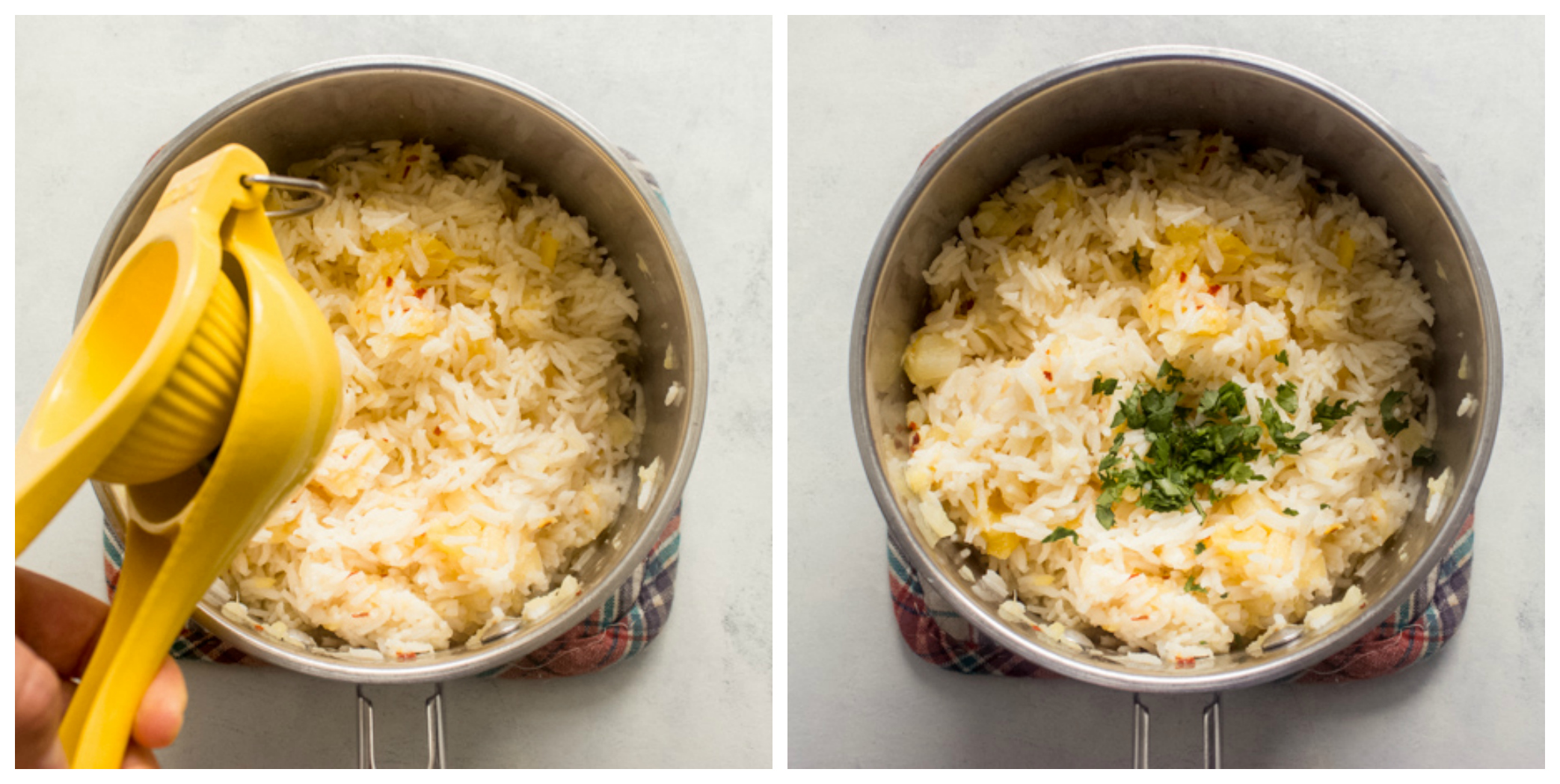 fluffed pineapple rice recipe in saucepan