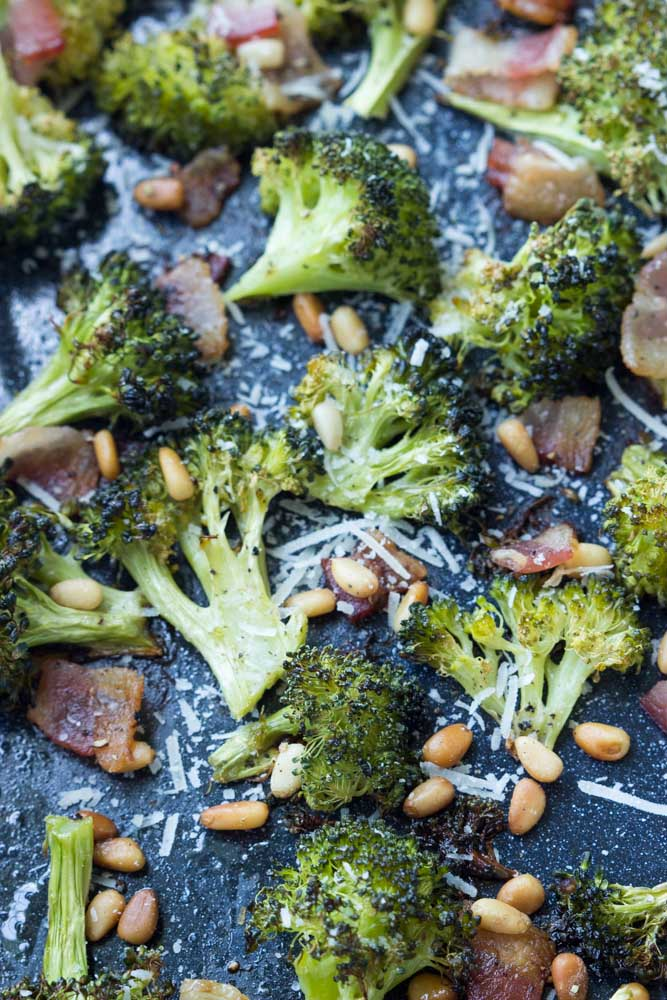Quick, easy roasted broccoli with bacon, pine nuts, and parmesan. Easy side dish for any day of the week | littlebroken.com @littlebroken