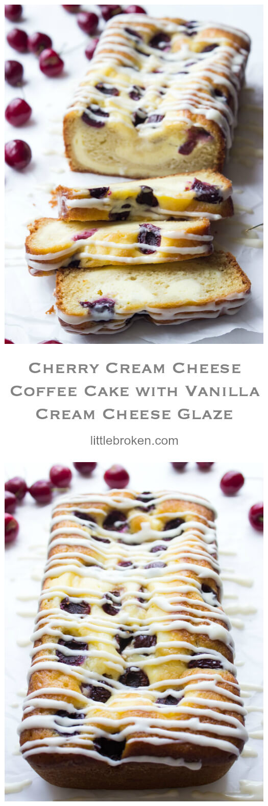 Super moist and flavorful 5 layer coffee cake, made with buttermilk cake layer, cream cheese filling, sweet fresh cherries, and the BEST cream cheese glaze | littlebroken.com @littlebroken