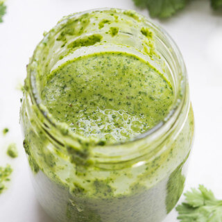 Fresh cilantro salad dressing made in about 5 minutes. Toss it with salad, pasta, quinoa. Pour it over shrimp, chicken or steak. | littlebroken.com @littlebroken