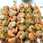 Garlic Shrimp Skewers with Cilantro Pesto