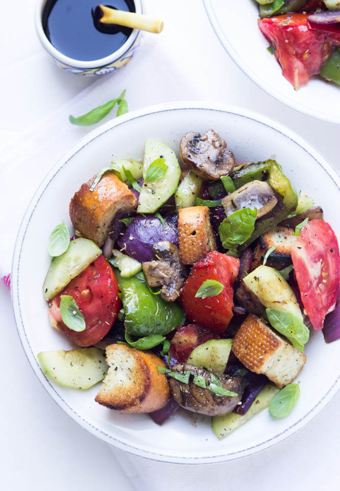 Grilled Vegetable Salad with Heirloom Tomatoes and Grilled