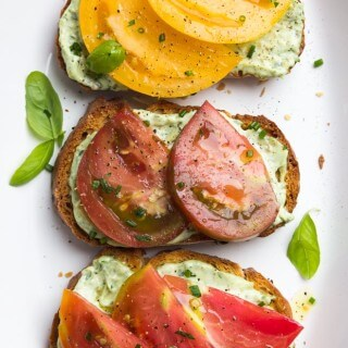 Open-Faced Heirloom Tomato Sandwiches with Garlic-Herb Aioli