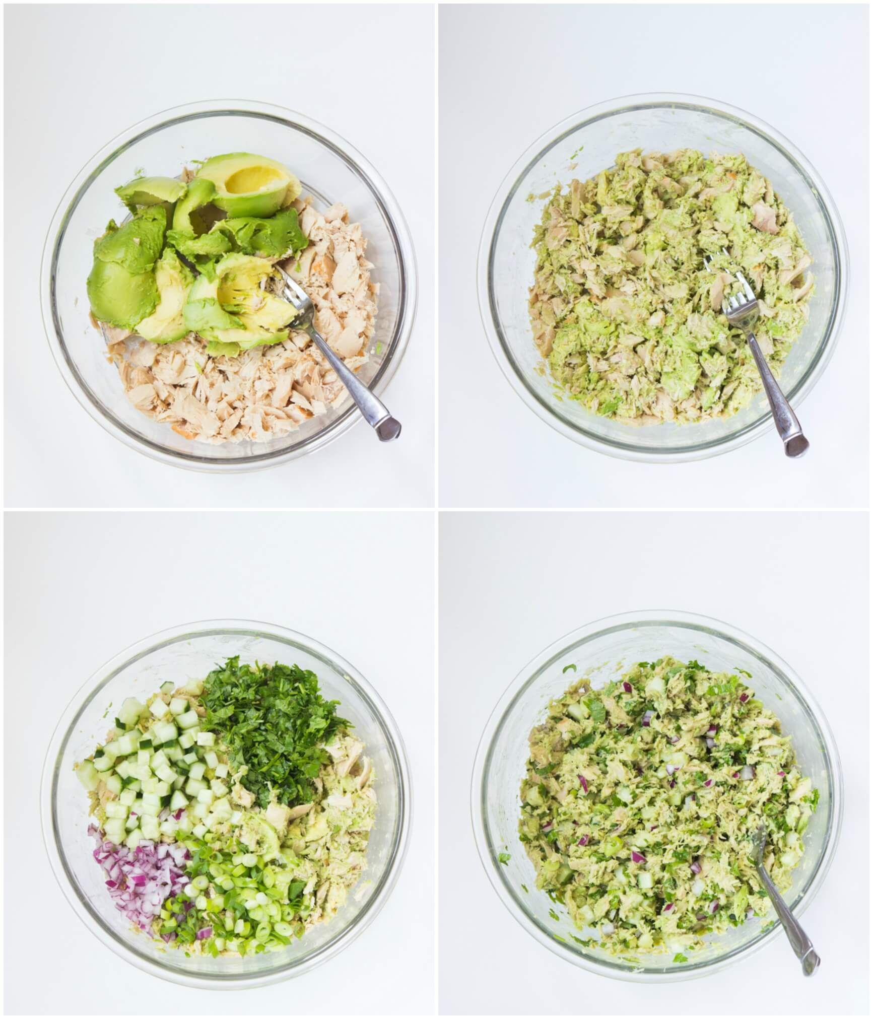 Healthy avocado tuna salad with creamy avocado, fresh herbs, cucumber, red onion, and lime juice. No mayo and paleo friendly! | littlebroken.com @littlebroken