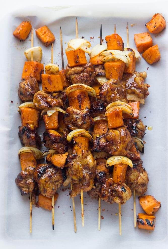 Spicy Honey Glazed Chicken And Sweet Potato Kebabs Little Broken