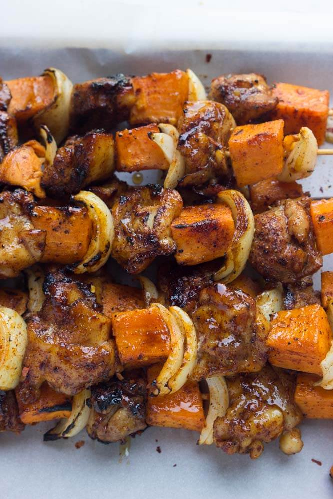 Spicy-Honey Glazed Chicken and Sweet Potato Kebabs | Little Broken
