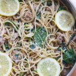 Easy weeknight pasta dinner with lemon cream sauce, Italian sausage and baby spinach | littlebroken.com @littlebroken