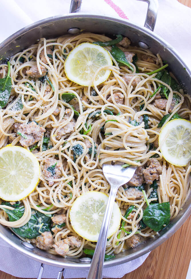Easy weeknight pasta dinner with lemon cream sauce, Italian sausage and baby spinach | littlebroken.com @littlebroken