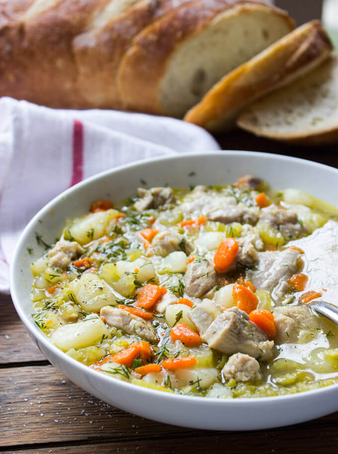 Chicken Split Pea Soup - hearty belly warming soup with chicken, split peas, tender chunks of potatoes and fresh herbs | littlebroken.com @littlebroken