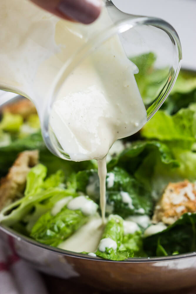 Lightened-up caesar dressing made with healthy greek yogurt and very little oil | littlebroken.com @littlebroken