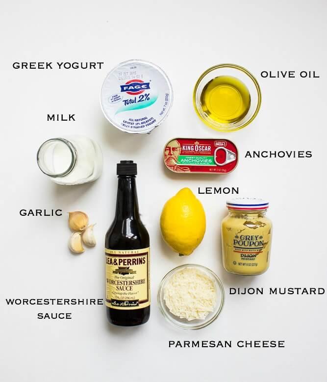 Lightened-up caesar dressing made with healthy greek yogurt and very little oil | littlebroken.com @littlebroken
