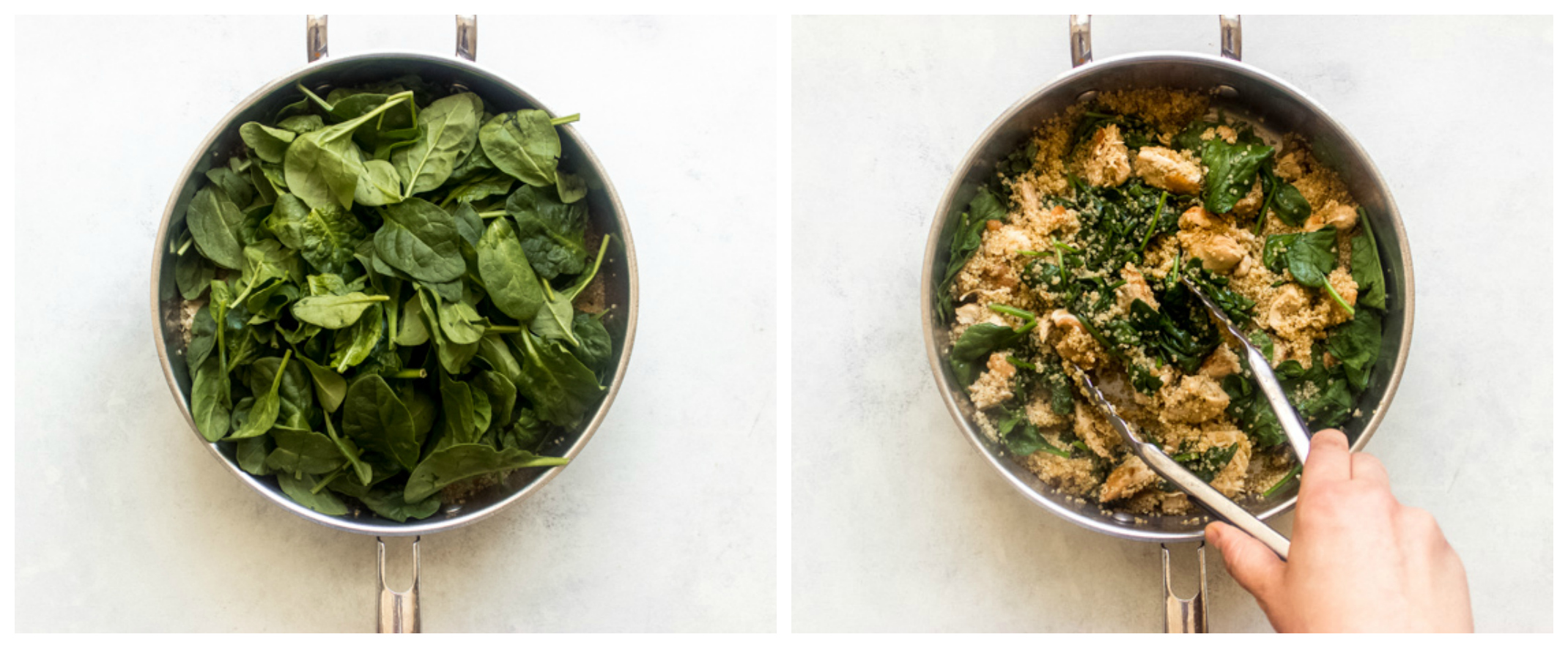 spinach with quinoa in saute pan