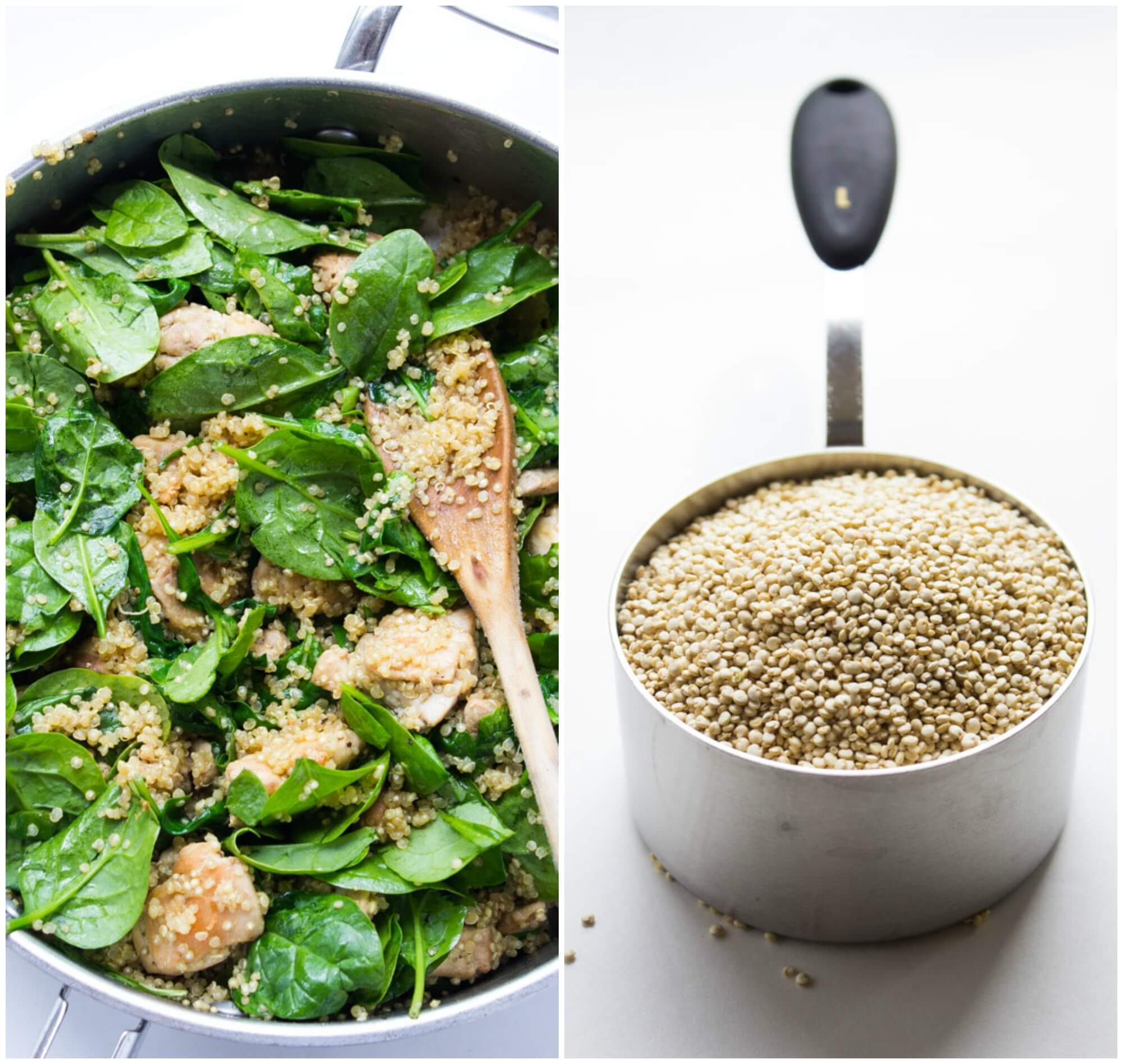 Healthy one-pot Chicken and Quinoa dinner, with baby spinach and mushrooms in a tangy sweet mustard sauce | littlebroken.com @littlebroken