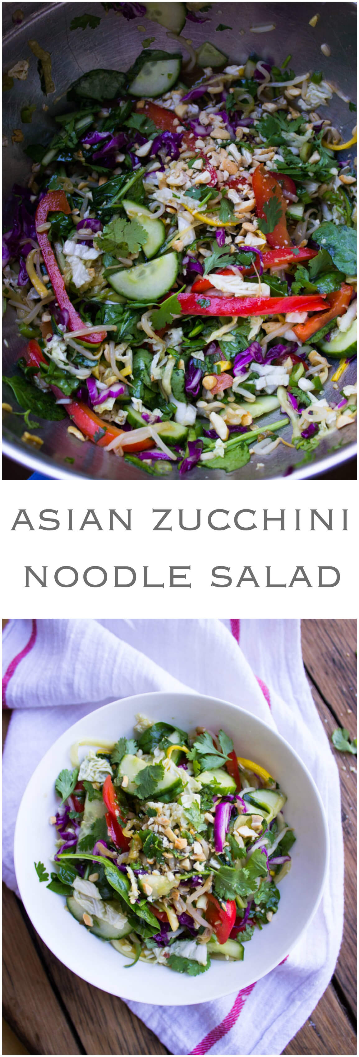 Asian Zucchini Noodle Salad Recipe - made with healthy zucchini noodles instead of pasta and ton of fresh veggies. Tossed in sweet and savory dressing | littlebroken.com @littlebroken