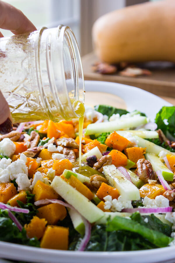 Kale, Butternut Squash and Apple Salad - healthy kale greens with roasted butternut squash and tart apple, tossed with feta, pecans in a zesty-sweet maple vinaigrette | littlebroken.com @littlebroken