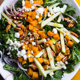 Kale, Butternut Squash and Apple Salad with Maple Vinaigrette