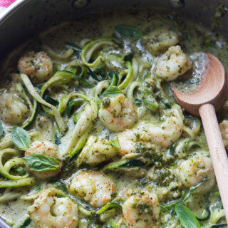 One-Pot Creamy Pesto Shrimp Zucchini Noodles