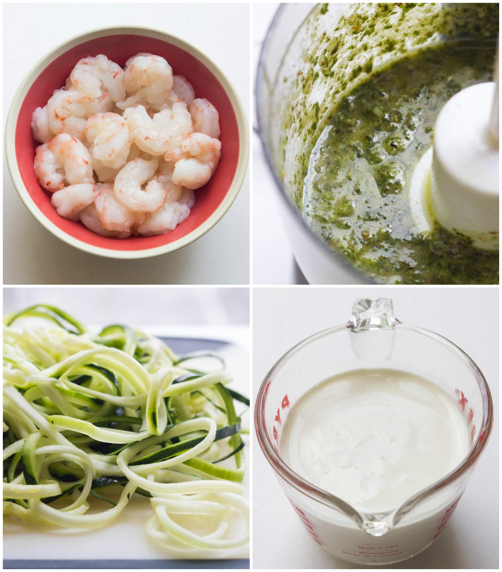 One-Pot Creamy Pesto Shrimp Zucchini Noodles - saucy shrimp in creamy pesto over tender crisp zucchini noodles. On the table in 30 min! | littlebroken.com @littlebroken