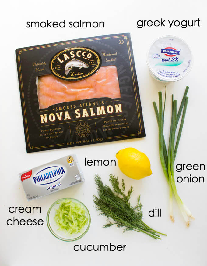 Smoked Salmon Spread with Greek Yogurt and Cucumbers - delicious and easy spread to serve with morning bagels or crisp fresh veggies | littlebroken.com @littlebroken