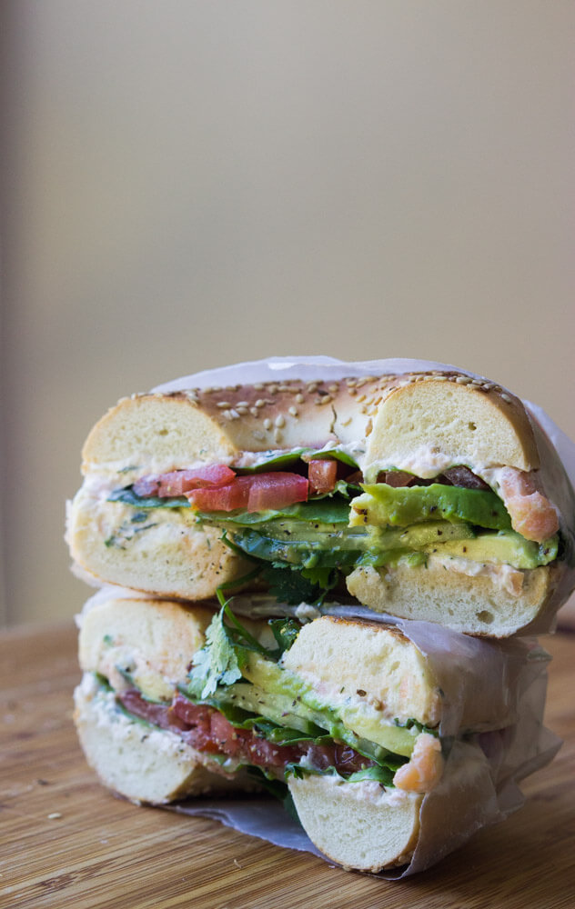 Veggie Bagel Sandwich with Homemade Smoked Salmon Spread - toasted bagel with creamy smoked salmon spread and layers of fresh and crisp veggies. Delicious way to enjoy breakfast or lunch on the go! | littlebroken.com @littlebroken