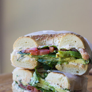 Veggie Bagel Sandwich with Homemade Smoked Salmon Spread