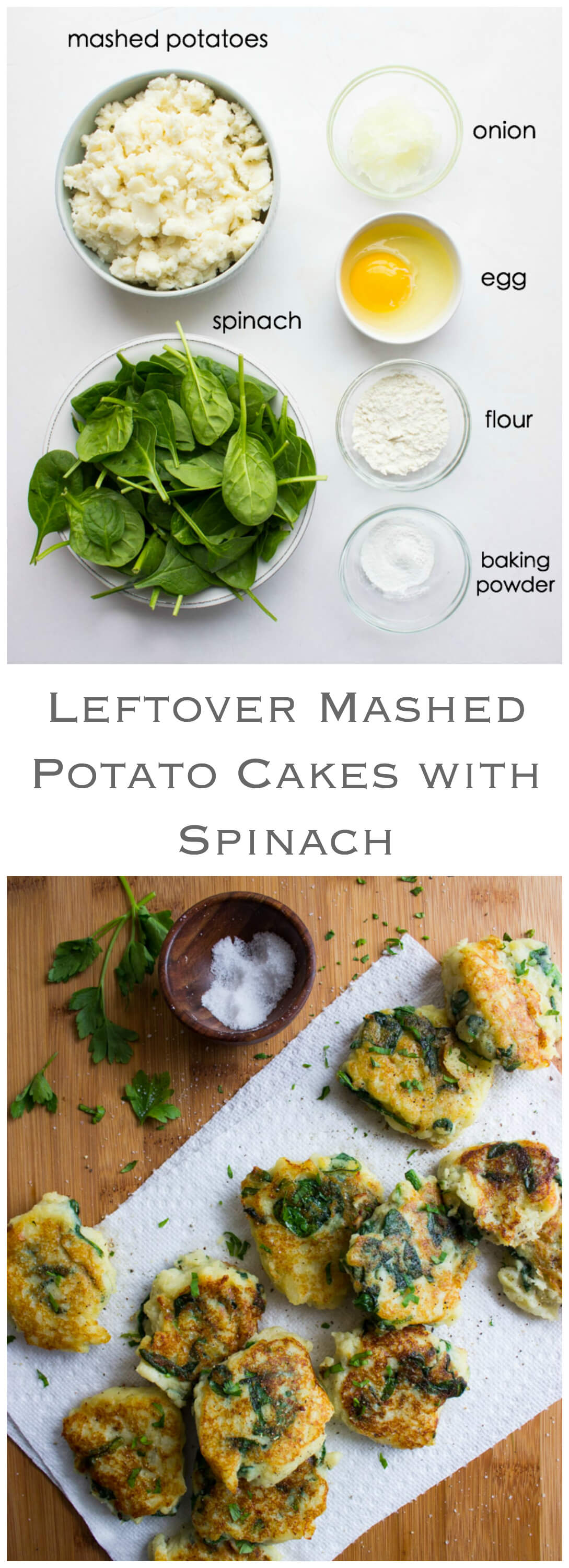 Leftover Mashed Potato Cakes with Spinach - revamp leftover mashed potatoes into a delicious side dish with only few simple ingredients | littlebroken.com @littlebroken