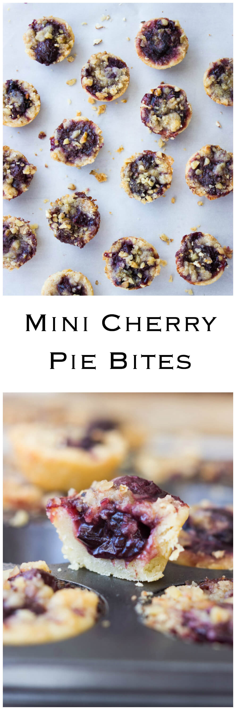 Mini Cherry Pie Bites - flaky buttery crust with cherry filling and walnut streusel. No special techniques required! So easy, so good. | littlebroken.com @littlebroken