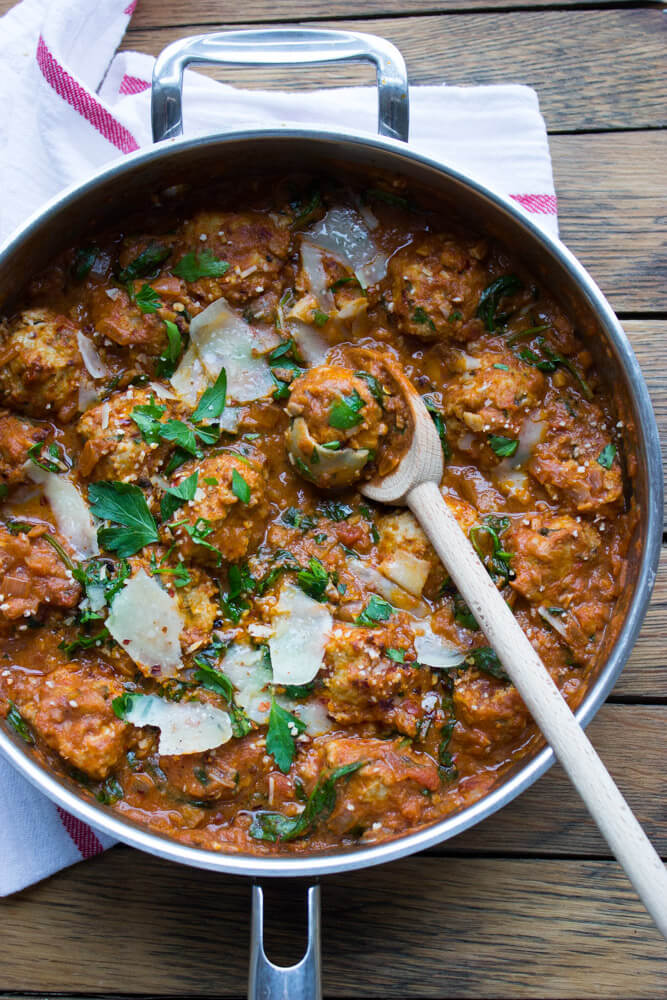 Saucy Chicken Meatballs in Creamy Asiago and Artichoke Sauce - best chicken meatballs (never fried) in saucy asiago + artichoke sauce with splash of red wine and cream   littlebroken.com @littlebroken