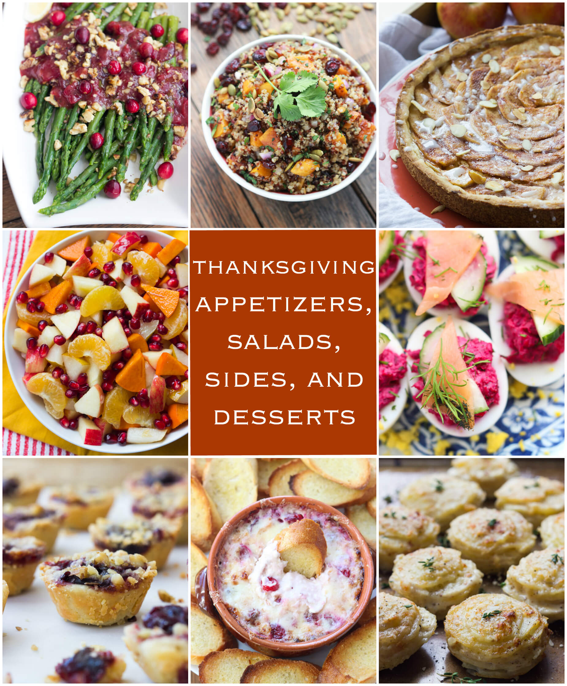 Thanksgiving Appetizers, Salads, Sides, And Desserts