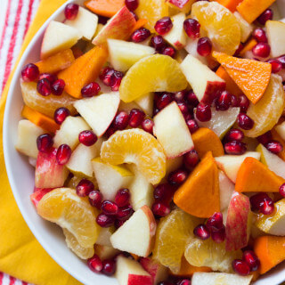 Winter Fruit Salad with Honey Lemon Syrup - healthy, festive and vibrant winter fruit salad with simple 2 ingredient honey syrup. Healthy Thanksgiving fruit | littlebroken.com @littlebroken